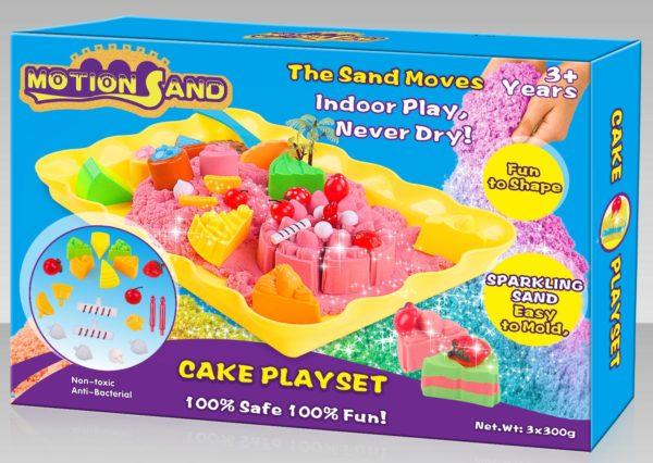 Cake Playset (3x300g sand   20 parts   1 plastic tray)