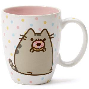 """Gund – Pusheen Our Name is Mud """"Donut"""" Stoneware Coffee Mug, Pink, 12 oz."""