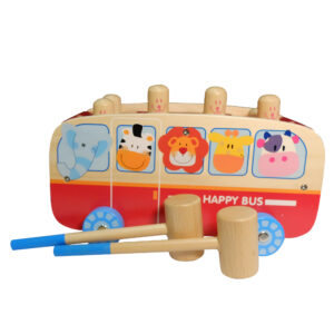 boby BB0507 Wooden Animal Pounding Bus
